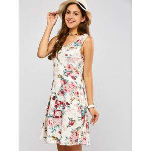 Sleeveless Blossom Print Swing Dress -