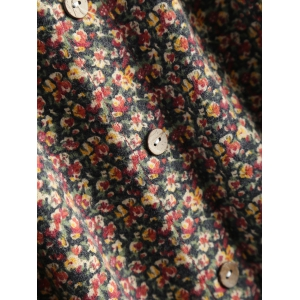 Buttoned Flower Print Smock Dress - FLORAL 2XL