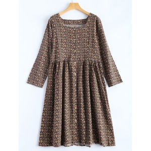 Buttoned Flower Print Smock Dress