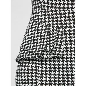 Ruffled Houndstooth Print Sheath Work Dress - WHITE AND BLACK XL