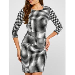 Ruffled Houndstooth Print Sheath Dress - White And Black - S