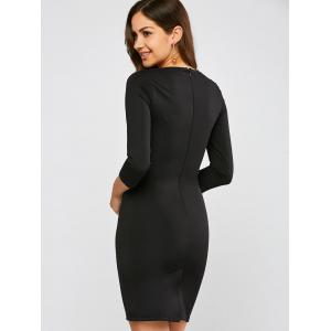 Ruffled Back Slit Sheath Dress - BLACK XL