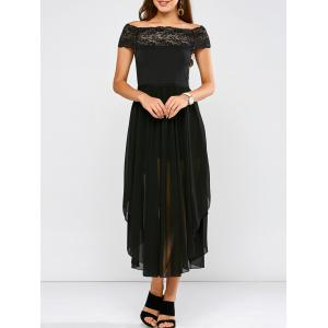 Lace Panel Side Slit Chiffon Party Dress