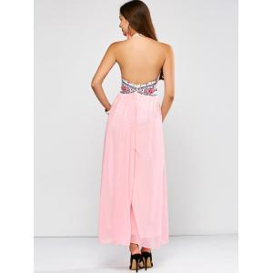 Flower Paneled Open Back Maxi Dress -