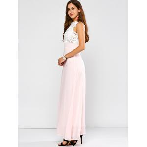 Maxi Lace Panel A Line Prom Formal Dress - SHALLOW PINK 2XL