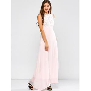 Maxi Lace Panel A Line Prom Formal Dress - SHALLOW PINK M