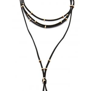 Layered Faux Leather Rope Choker -