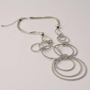 Retro Layered Circle Pendant Necklace - SILVER