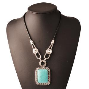 Rhinestone Faux Gemstone Geometry Pendant Necklace