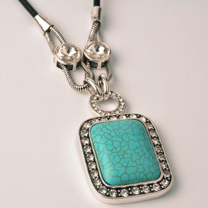 Rhinestone Faux Gemstone Geometry Pendant Necklace - GREEN