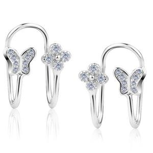 Butterfly Silver Plated Clip Earrings