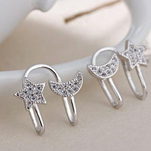 Star Moon Clip Earrings Without Piercing - SILVER
