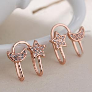 Star Moon Clip Earrings Without Piercing - Rose Gold - 4xl