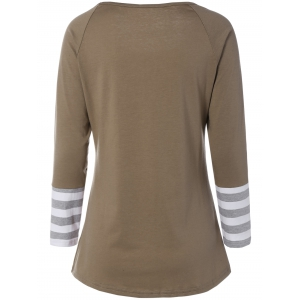 Printed Striped Sleeve Tee - KHAKI L