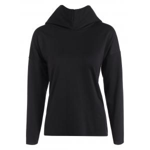 Drop Shoulder High Low Hoodie - Black - L