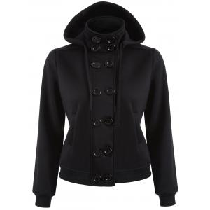 Double Breasted High Collar Hoodie Jacket - Black - M