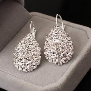 Rhinestoned Water Drop Earrings - Silver