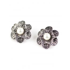 Artificial Pearl Flower Earrings - SILVER