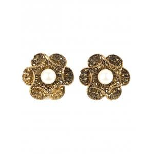 Artificial Pearl Flower Earrings - Bronze-colored