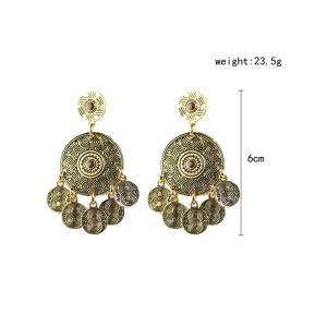 Bohemian Circle Coins Drop Earrings -
