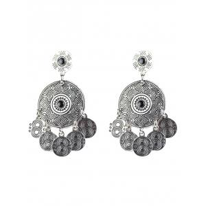 Bohemian Circle Coins Drop Earrings - Silver - M