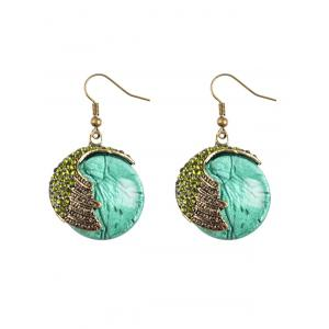 Rhinestone Natural Stone Drop Earrings - Green