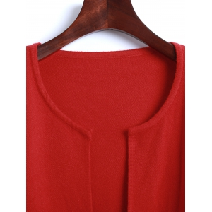 Open Front Pockets Knit Cardigan -