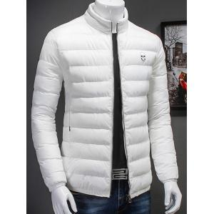 Plus Size Skull Print Stand Collar Cotton Padded Jacket -