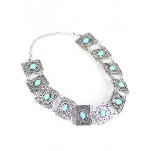 Bohemian Artificial Turquoise Choker - WINDSOR BLUE