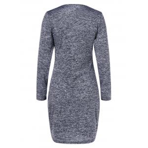 Bodycon V Neck Mini Dress - DEEP GRAY M