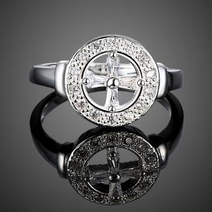 Rhinestone Crucifix Circle Ring - SILVER 8
