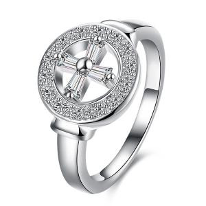 Rhinestone Crucifix Circle Ring