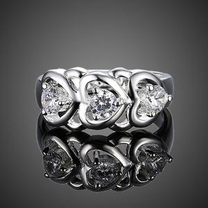 Rhinestone Engraved Heart Ring -