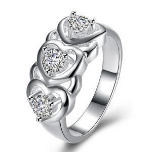 Rhinestone Engraved Heart Ring - Silver - 7