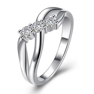 Rhinestone Infinite Ring - Silver - 8
