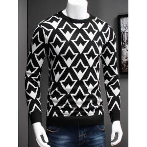 Plus Size Geometric Graphic Long Sleeve Sweater