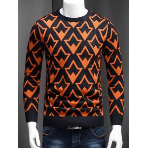 Plus Size Geometric Graphic Long Sleeve Sweater - Jacinth - L