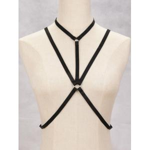 Geometric Harness Bra Bondage Necklace Cross Body Jewelry - Black - One Size
