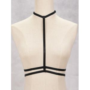 Hollow Out Harness Bra Bondage Body Jewelry - Black