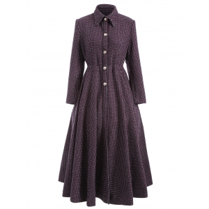 Polka Dot Woolen Skirted A Line Long Maxi Coat