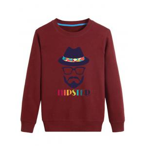 Colorful Hat and Cartoon Print Crew Neck Long Sleeve Sweatshirt - Wine Red - M