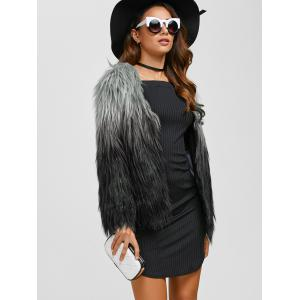 Collarless Ombre Faux Fur Coat -