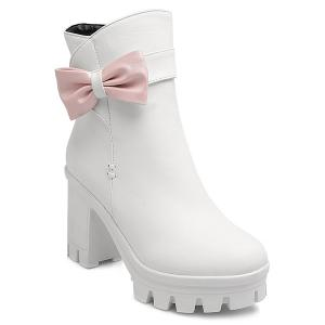 Bow Chunky Heel Short Boots - White - 39