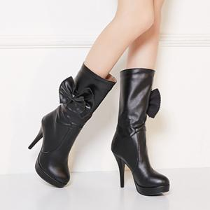 Bowknot PU Leather High Heel Boots -