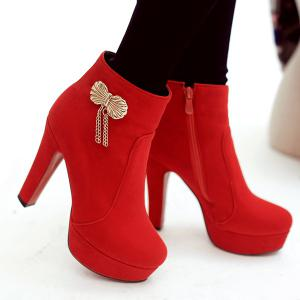 Metal Bow Chunky Heel Ankle Boots -