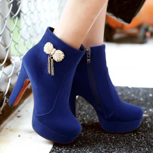 Metal Bow Chunky Heel Ankle Boots - BLUE 37