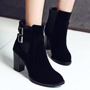 Chunky Heel Double Buckles Short Boots - BLACK 39