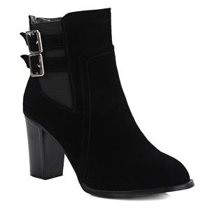 Chunky Heel Double Buckles Short Boots - Black - 39