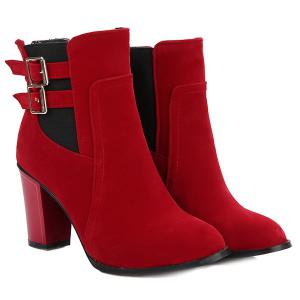 Chunky Heel Double Buckles Short Boots - RED 38