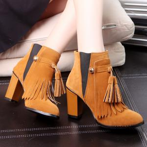 Removable Fringe Chunky Heel Boots - BROWN 39